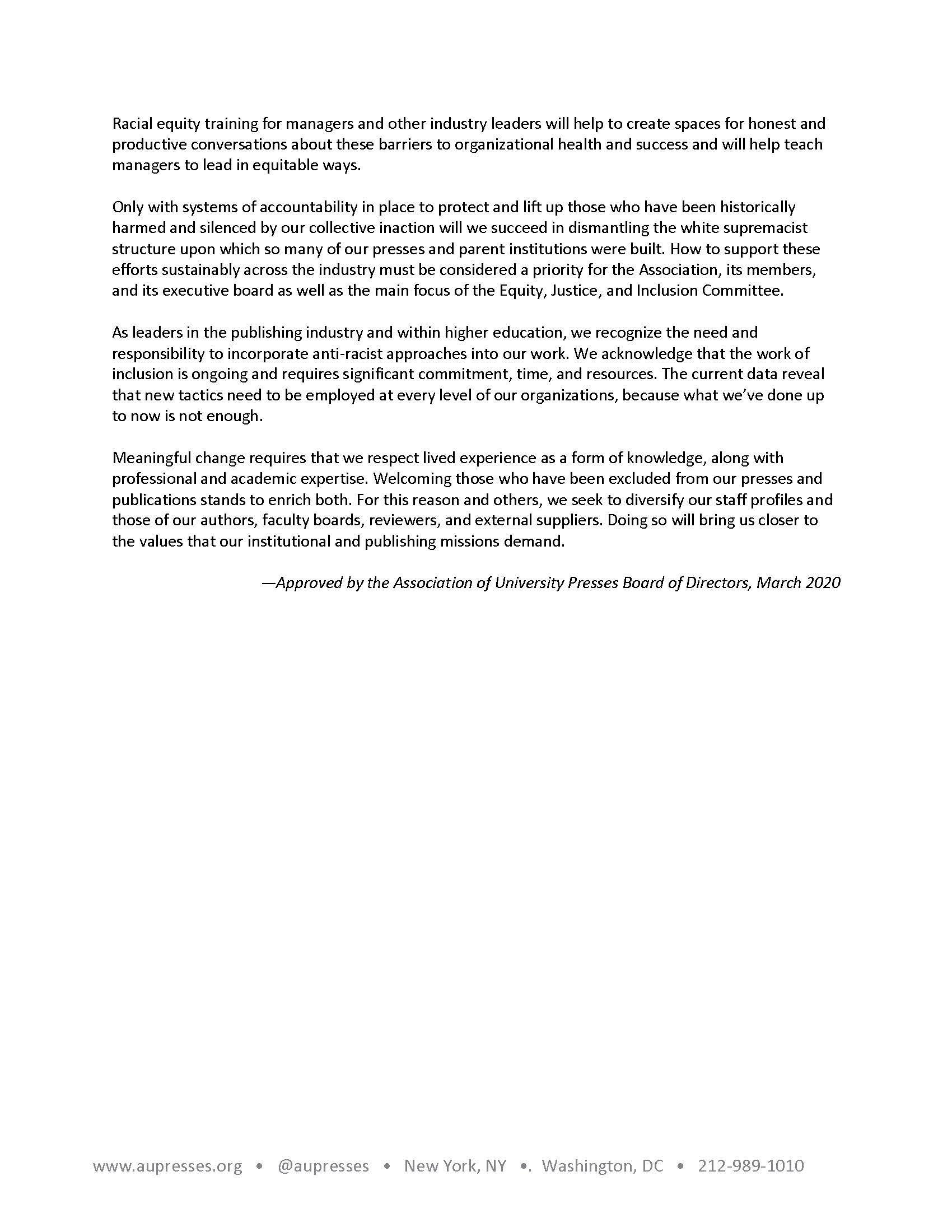 Aupresses Antiracism Statement 2020 Page 2